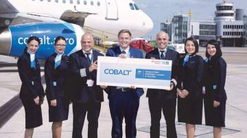 Cobalt Air's staff celebrated the airlines new Düsseldorf flight inauguration