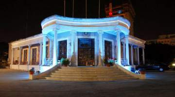 Historical Buildings in Cyprus burned blue in support of National Autism Day